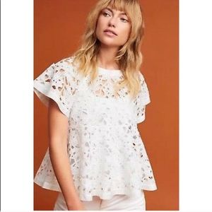 Anthropologie Eri + Ali White Lace Remy Swing Top
